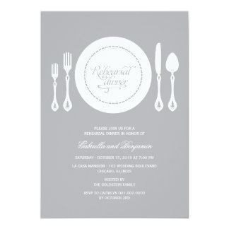 Elegant Place Setting Wedding Rehearsal Dinner 13 Cm X 18 Cm Invitation Card