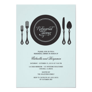 Elegant Place Setting Wedding Rehearsal Dinner Custom Invitations