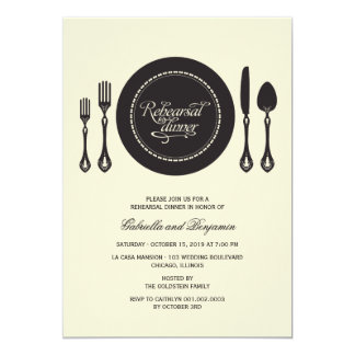 Elegant Place Setting Wedding Rehearsal Dinner Personalized Announcement