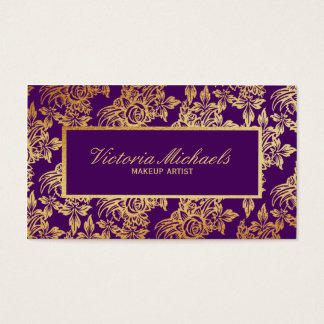 Elegant Plum and Gold Floral Business Card