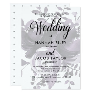 Elegant Plum and Grey with Floral and Dots Wedding Card