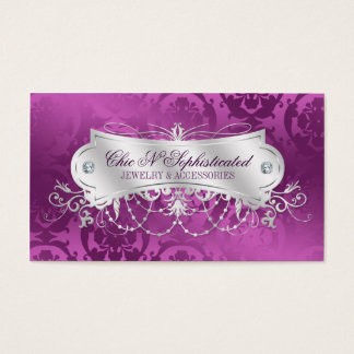 Elegant Plum Damask Swirl Business Card