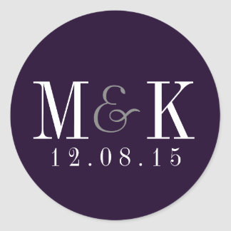 Elegant Plum Purple Monogram Wedding Sticker