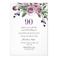 Elegant Plum Purple Rose 90th Birthday Invitation