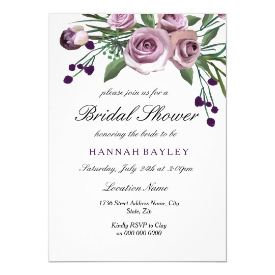 Elegant Plum Purple Rose Bridal Shower Invitation