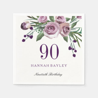 Elegant Plum Purple Rose Floral 90th Birthday Disposable Napkins