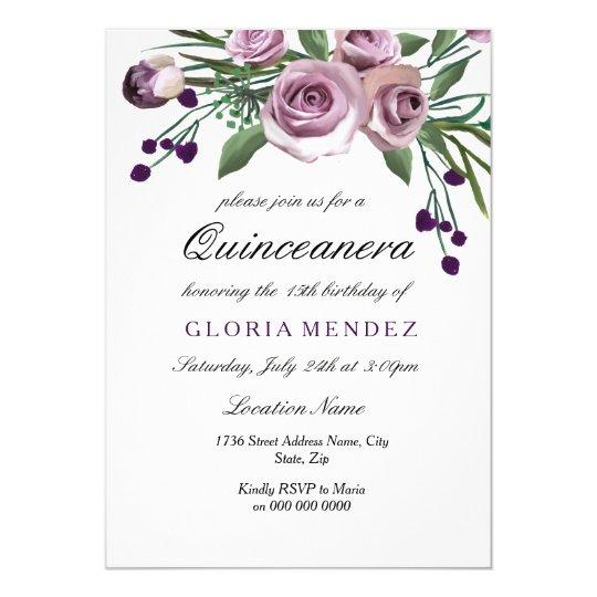Elegant Plum Purple Rose Quinceanera Invitation