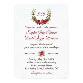 Elegant Poinsettia Winter Wreath Wedding Card