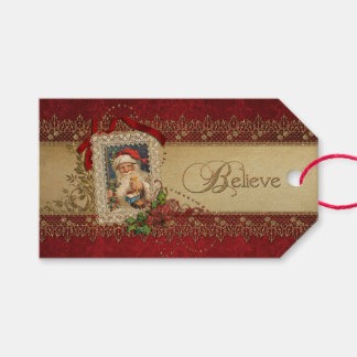 Elegant Poinsettias and Gold Swirls Gift Tags