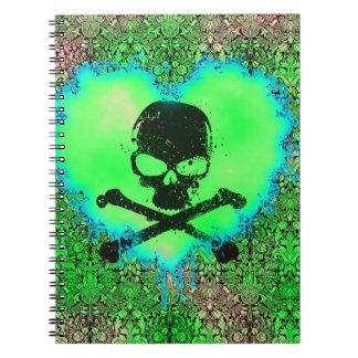Elegant Poison Goth Damask Skull Notebook