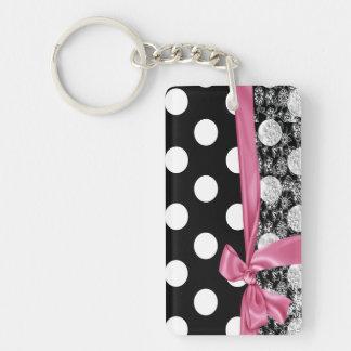 Elegant Polka Dots,Bow,Lace-Black ,White Double-Sided Rectangular Acrylic Key Ring