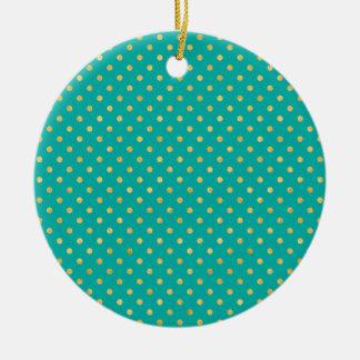 Elegant Polka Dots -Mint & Gold- Christmas Ornament
