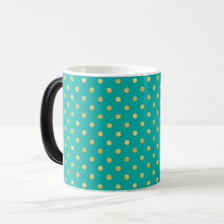 Elegant Polka Dots -Mint & Gold- Magic Mug