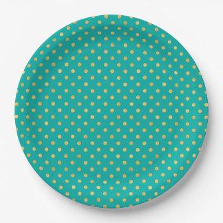 Elegant Polka Dots -Mint & Gold- Paper Plate