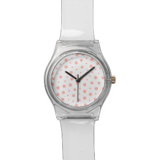Elegant polka dots - Soft Pink Gold White Watch
