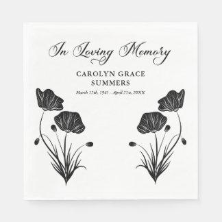 Elegant Poppies In Loving Memory Funeral Paper Napkin