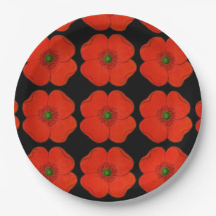 Elegant poppy flower designed - black background paper plate  sc 1 st  Zazzle & Poppy Design Plates   Zazzle.co.uk