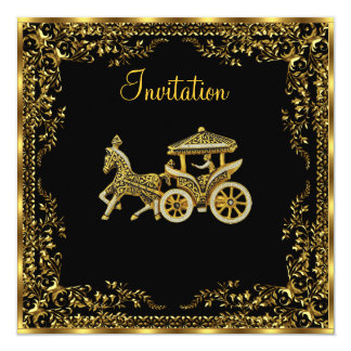 Elegant Popular  Gold carriage Invitation