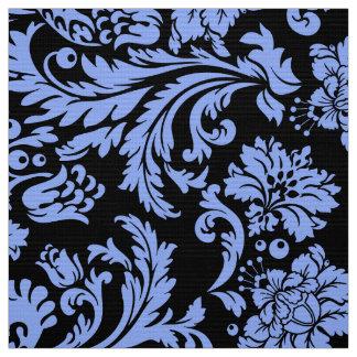 Elegant Powder Blue & Black Floral Damasks Fabric