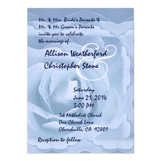 Elegant Powder Blue Rose Wedding Invitation