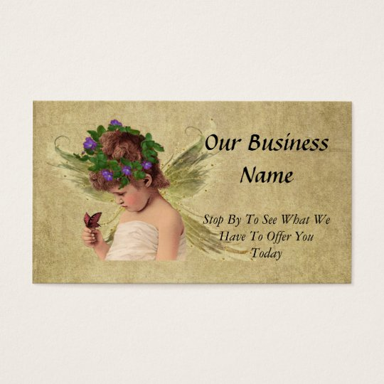 Elegant Precious Angel Girl w/butterfly Business Card