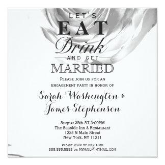Elegant Pretty Black and White Rose Print 13 Cm X 13 Cm Square Invitation Card