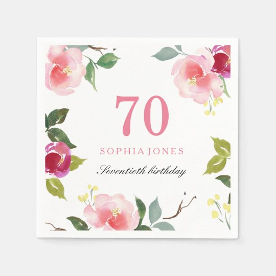 Elegant Pretty Pink Floral 70th Birthday Party Disposable