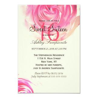 Elegant Pretty Pink Rose Print 9 Cm X 13 Cm Invitation Card