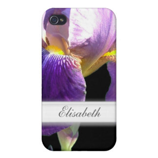 Elegant, pretty purple iris flower in black covers for iPhone 4