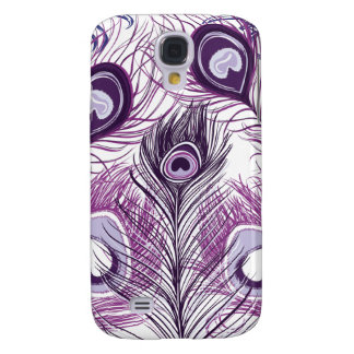 Elegant Pretty Purple Peacock Feathers Design Galaxy S4 Case