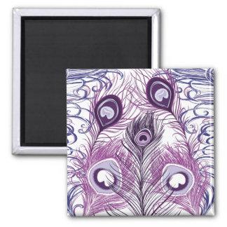 Elegant Pretty Purple Peacock Feathers Design Square Magnet