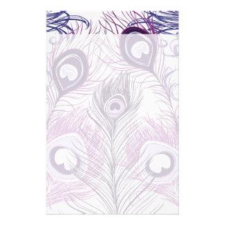 Elegant Pretty Purple Peacock Feathers Design Stationery