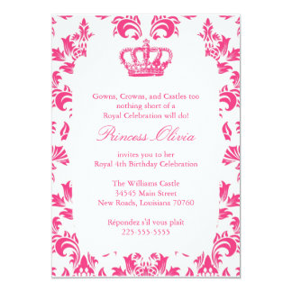 Elegant Princess Birthday Party 13 Cm X 18 Cm Invitation Card