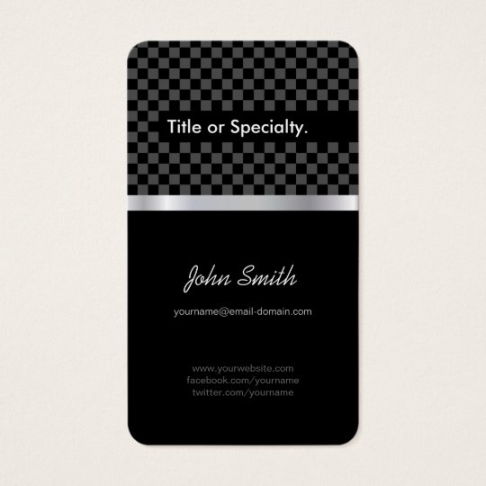 Elegant & Pro Black Silver Squares Chequered Business Card