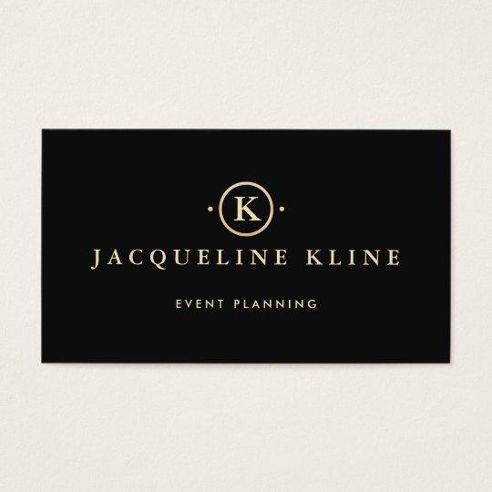 Elegant Professional Black and Gold Monogram Business Card