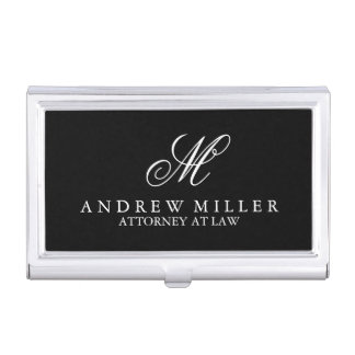 Elegant Professional Black Monogram Case For Business Cards