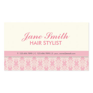Elegant Professional Cosmetologist Damask Floral Business Card Template