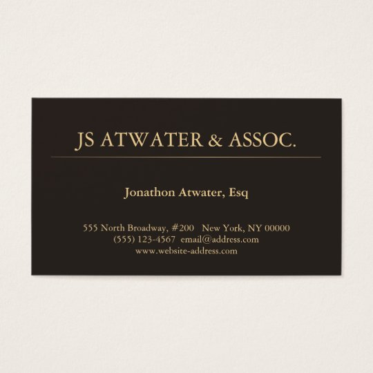 Elegant Professional Executive Lawyer Dark Brown Business Card