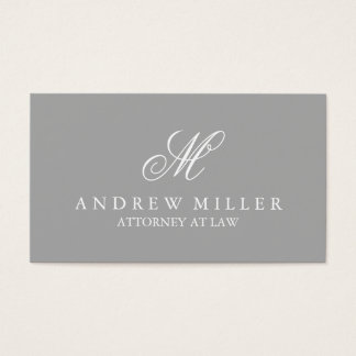 Elegant Professional Gray and White Monogram Business Card