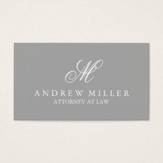 Elegant Professional Gray and White Monogram Business Card