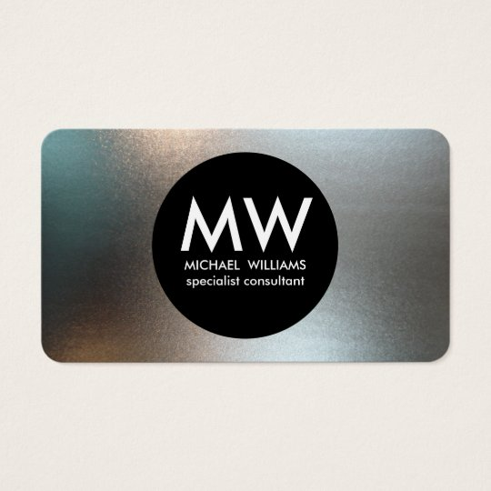 Elegant professional metal black circle silver business card