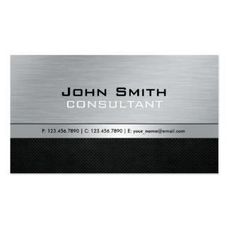 Elegant Professional Modern Black Silver Metal Pack Of Standard Business Cards