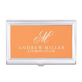 Elegant Professional Orange Monogram Business Card Holder