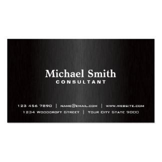 Elegant Professional Plain Black Modern Metal Business Card Template