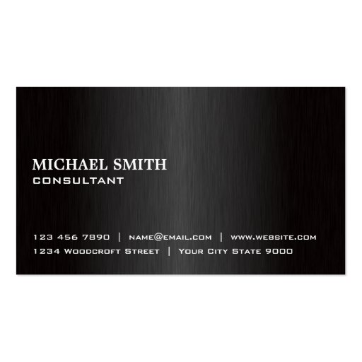 Elegant Professional Plain Black Modern Metal Business Cards