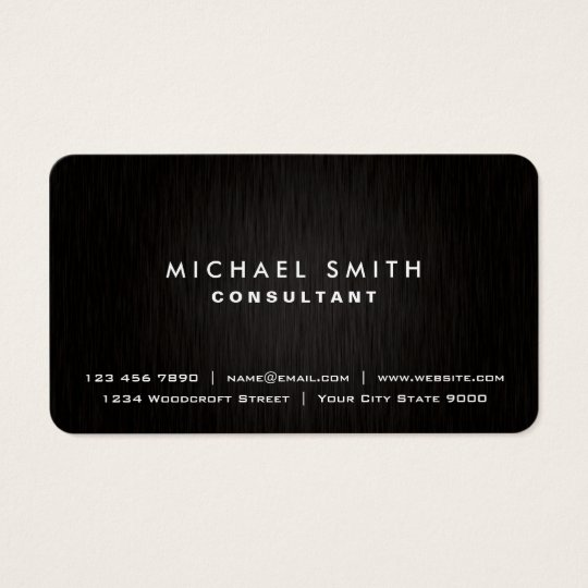 Elegant Professional Plain Black Modern Metal Look Business