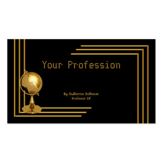 Elegant Professional Profession Black Gold Globe Double-Sided Standard Business Cards (Pack Of 100)
