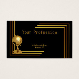 Elegant Professional Profession Black Gold Globe Business Card