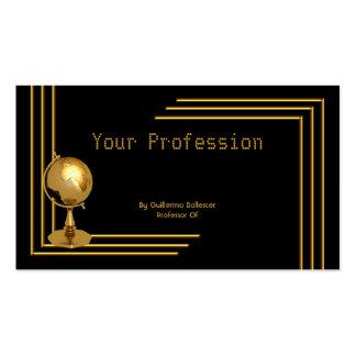 Elegant Professional Profession Black Gold Globe Pack Of Standard Business Cards