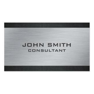 Elegant Professional Silver Metal Modern Black Pack Of Standard Business Cards